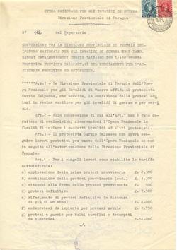 Un vecchio contratto con l'Opera Nazionale Invalidi di Guerra datato 1966